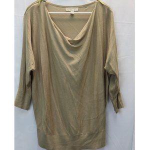Michael Kors Tan Blouse W/ Shoulder Gold Zipper